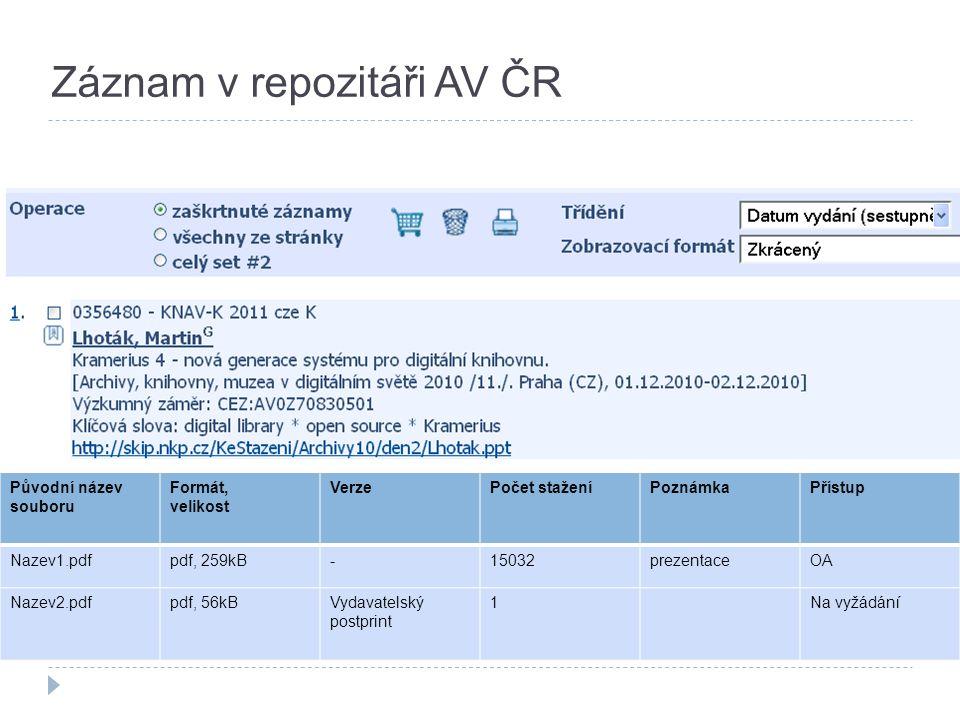 Původní název souboru Formát, velikost VerzePočet staženíPoznámkaPřístup Nazev1.pdfpdf, 259kB-15032prezentaceOA Nazev2.pdfpdf, 56kBVydavatelský postprint 1Na vyžádání Záznam v repozitáři AV ČR