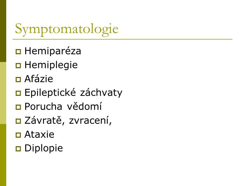 Symptomatologie  Hemiparéza  Hemiplegie  Afázie  Epileptické záchvaty  Porucha vědomí  Závratě, zvracení,  Ataxie  Diplopie