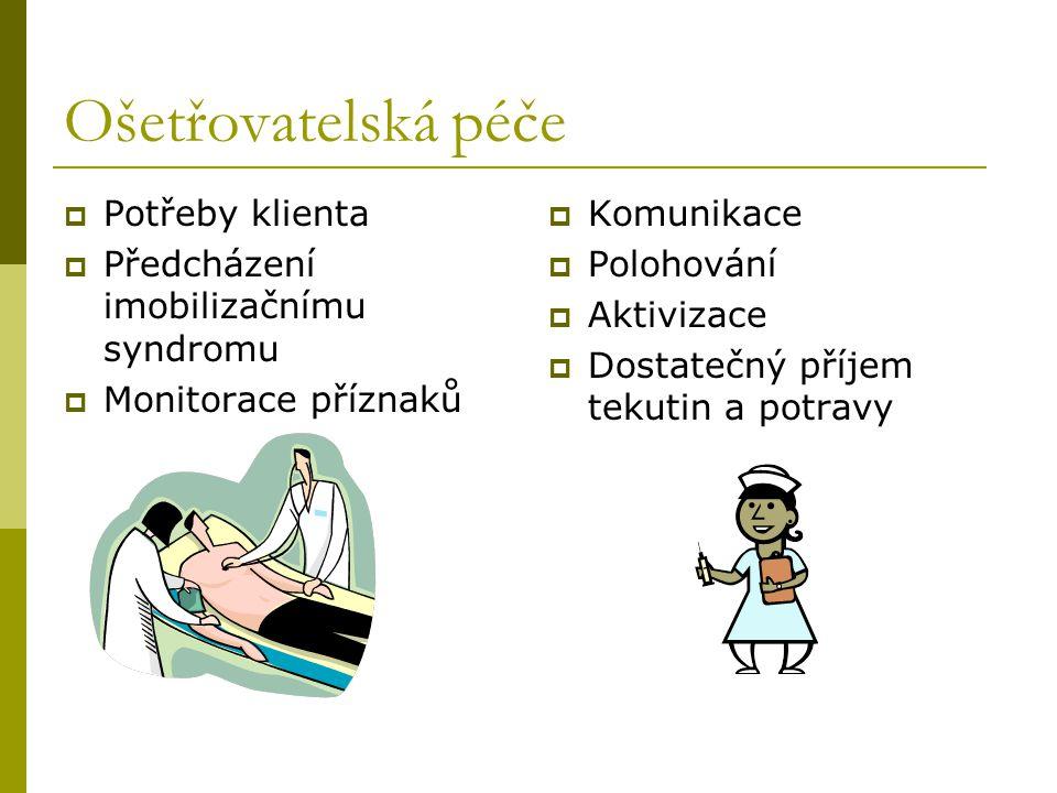 Ošetřovatelská péče  Potřeby klienta  Předcházení imobilizačnímu syndromu  Monitorace příznaků  Komunikace  Polohování  Aktivizace  Dostatečný