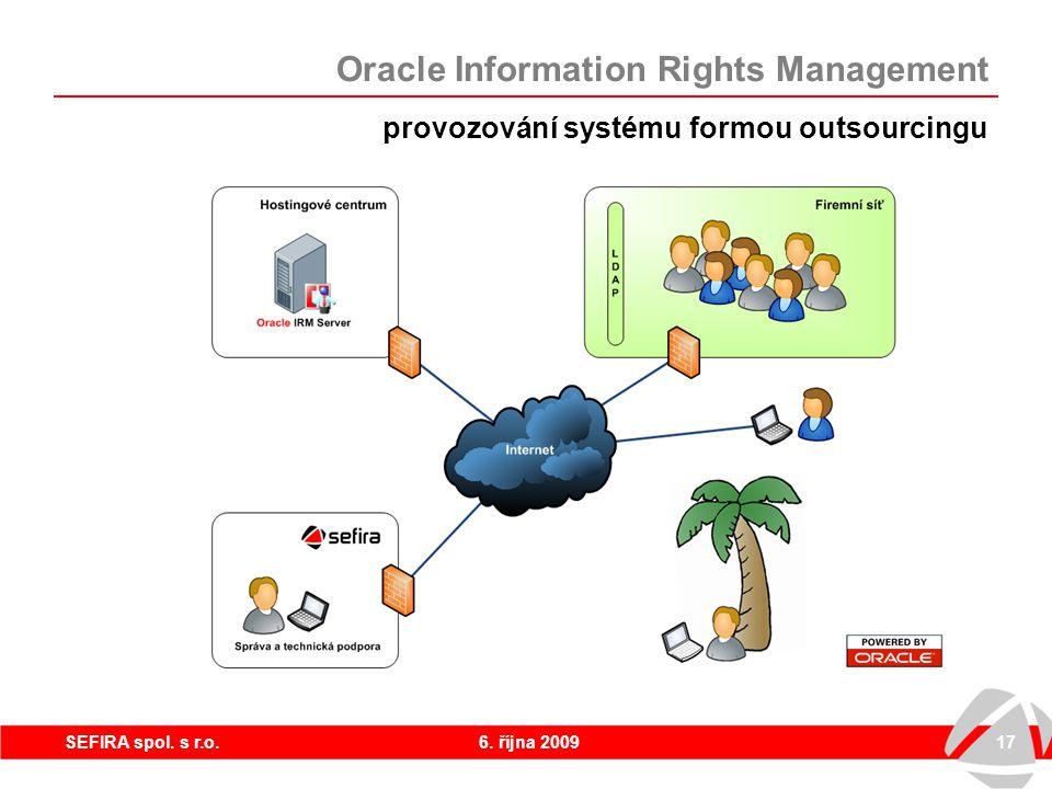 6. října 200917SEFIRA spol. s r.o. Oracle Information Rights Management provozování systému formou outsourcingu Přenášena jsou jen oprávnění, nikoliv