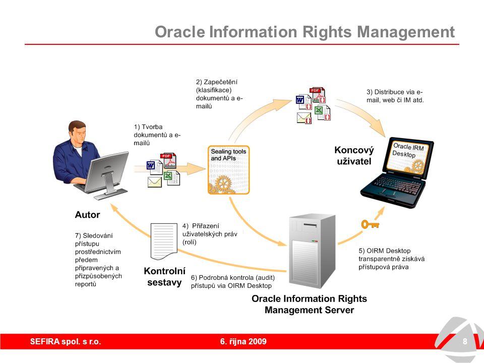 6. října 20098SEFIRA spol. s r.o. Oracle Information Rights Management Princip řešení – jak to funguje?