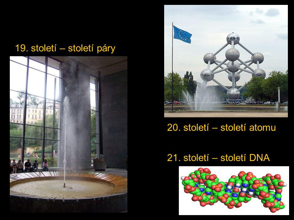 19. století – století páry 20. století – století atomu 21. století – století DNA