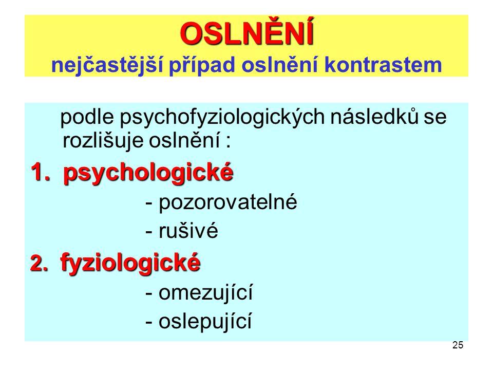 25 OSLNĚNÍ OSLNĚNÍ nejčastější případ oslnění kontrastem podle psychofyziologických následků se rozlišuje oslnění : 1.psychologické 1.psychologické -