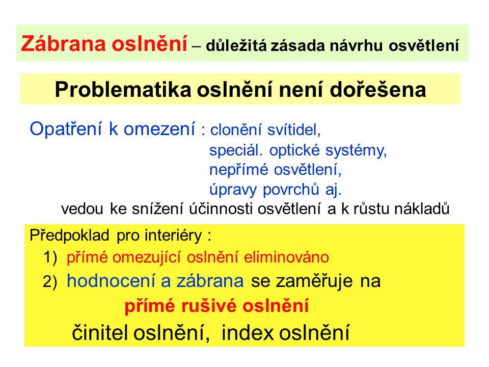 27 Zábrana oslnění – důležitá zásada návrhu osvětlení Předpoklad pro interiéry : 1) přímé omezující oslnění eliminováno 2) hodnocení a zábrana se zamě