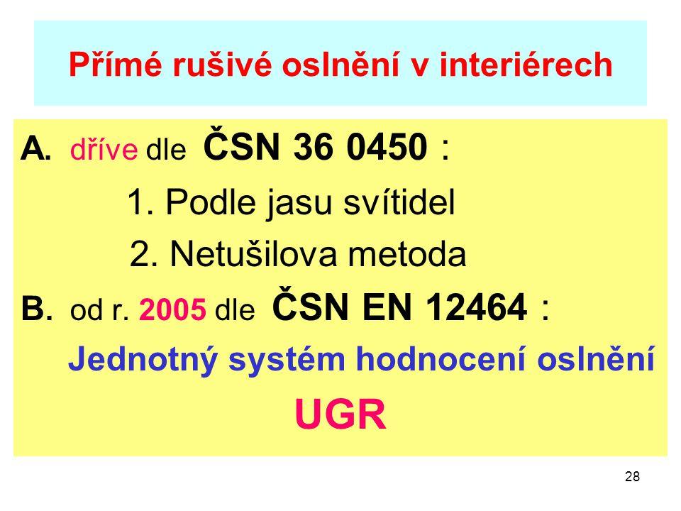 28 Přímé rušivé oslnění v interiérech A. dříve dle ČSN 36 0450 : 1. Podle jasu svítidel 2. Netušilova metoda B. od r. 2005 dle ČSN EN 12464 : Jednotný