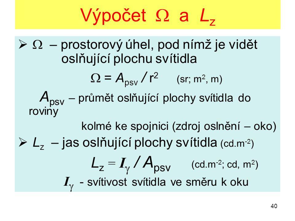 40 Výpočet  a L z   – prostorový úhel, pod nímž je vidět oslňující plochu svítidla  = A psv / r 2 (sr; m 2, m) A psv – průmět oslňující plochy sví