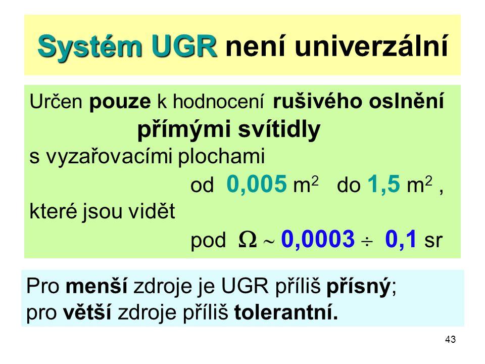 43 Systém UGR Systém UGR není univerzální Určen pouze k hodnocení rušivého oslnění přímými svítidly s vyzařovacími plochami od 0,005 m 2 do 1,5 m 2, k