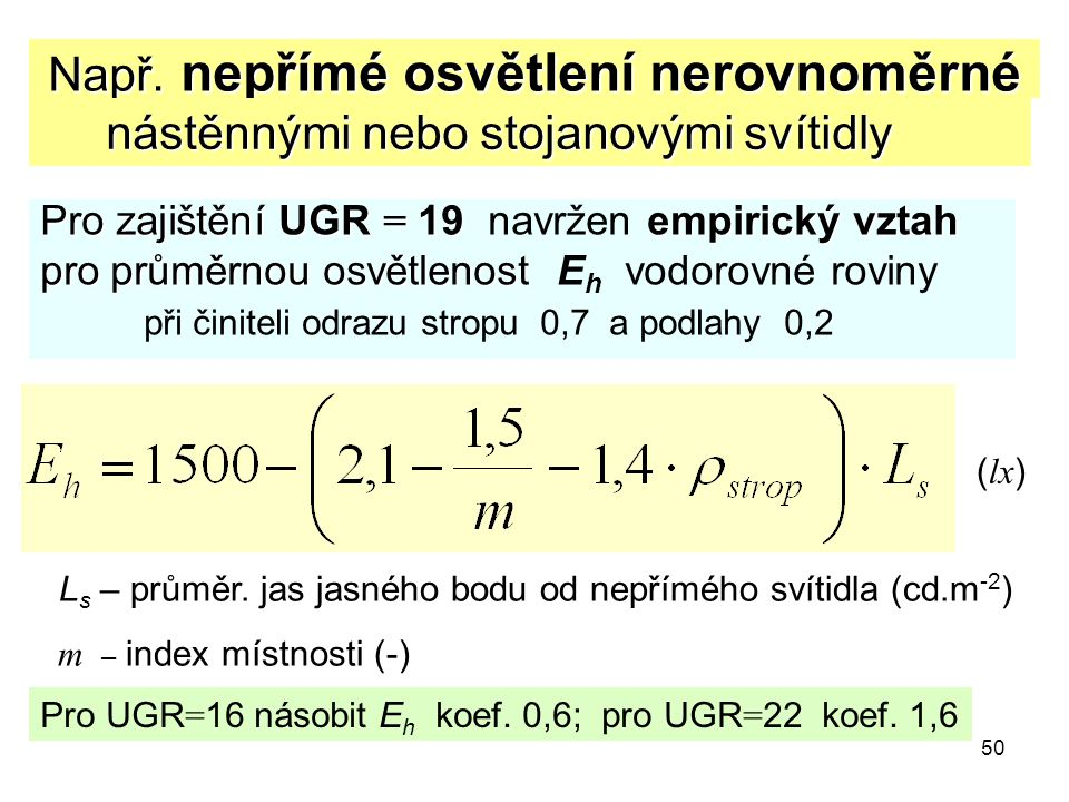50 Např. nepřímé osvětlení nerovnoměrné Pro zajištění UGR = 19 empirický vztah Pro zajištění UGR = 19 navržen empirický vztah pro průměrnou osvětlenos
