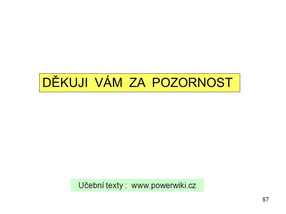 57 DĚKUJI VÁM ZA POZORNOST Učební texty : www.powerwiki.cz