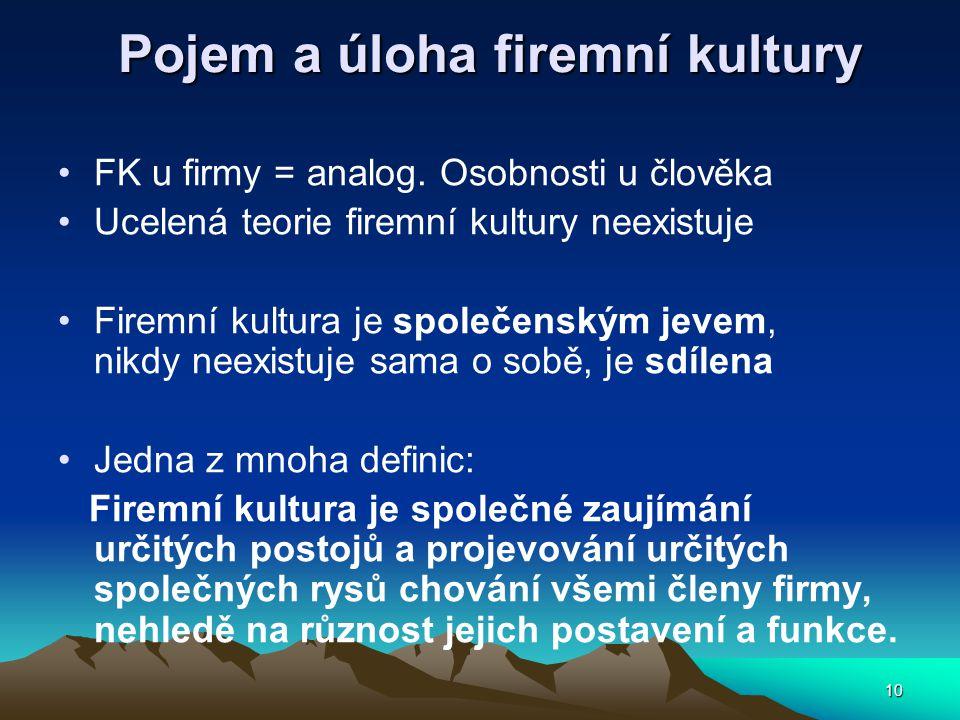 10 Pojem a úloha firemní kultury FK u firmy = analog.
