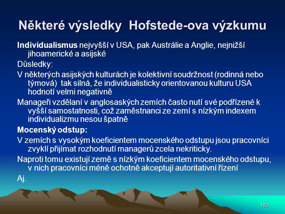 113 Některé výsledky Hofstede-ova výzkumu Individualismus nejvyšší v USA, pak Austrálie a Anglie, nejnižší jihoamerické a asijské Důsledky: V některýc