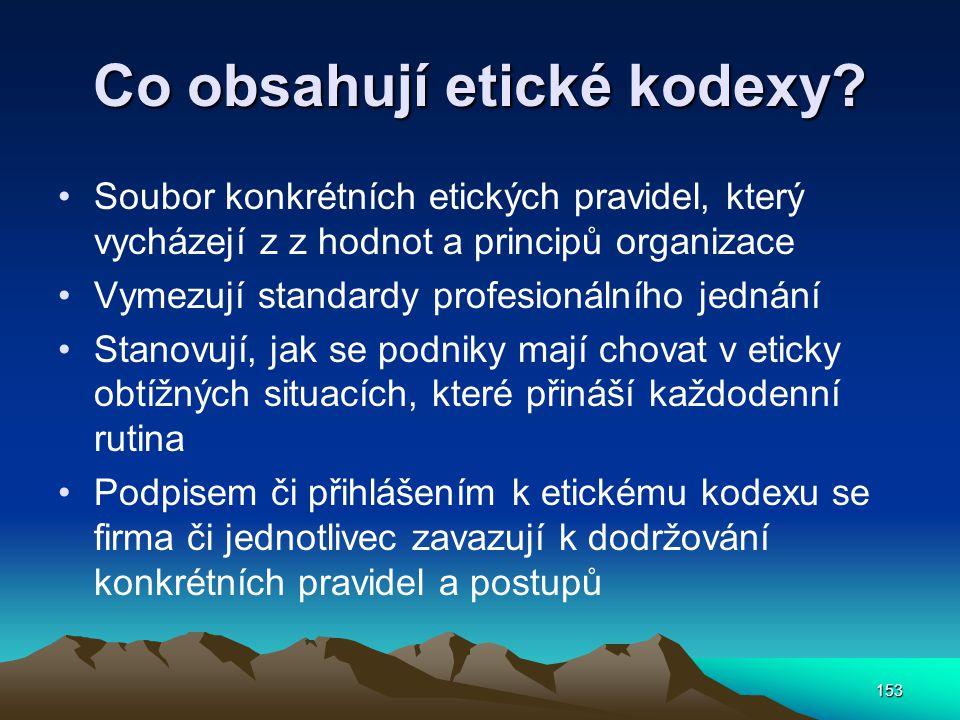 153 Co obsahují etické kodexy? Soubor konkrétních etických pravidel, který vycházejí z z hodnot a principů organizace Vymezují standardy profesionální