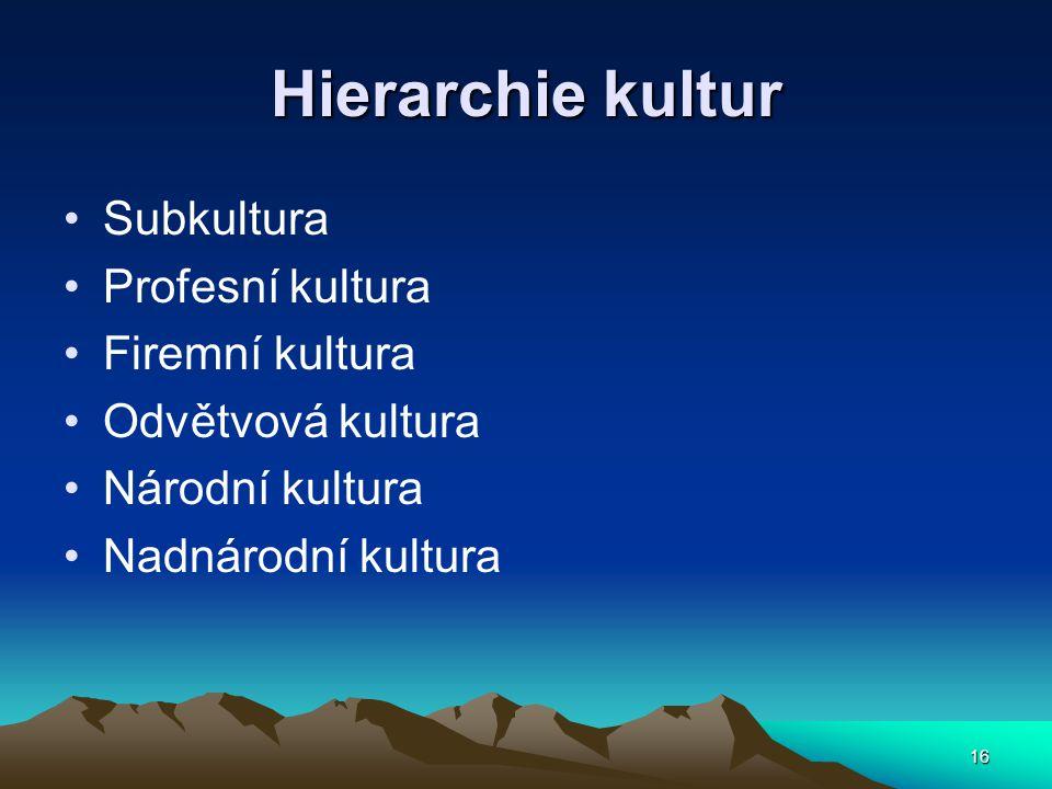 16 Hierarchie kultur Subkultura Profesní kultura Firemní kultura Odvětvová kultura Národní kultura Nadnárodní kultura
