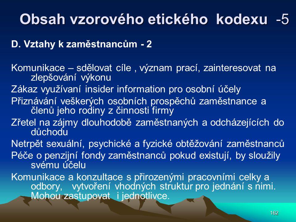 162 Obsah vzorového etického kodexu -5 D.