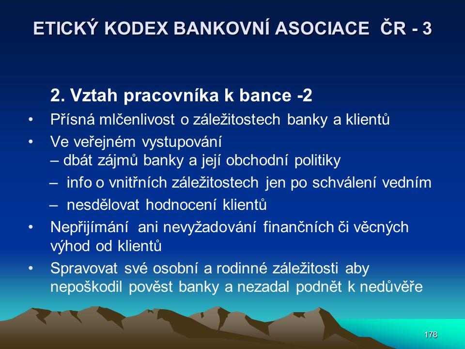 178 ETICKÝ KODEX BANKOVNÍ ASOCIACE ČR - 3 2. Vztah pracovníka k bance -2 Přísná mlčenlivost o záležitostech banky a klientů Ve veřejném vystupování –