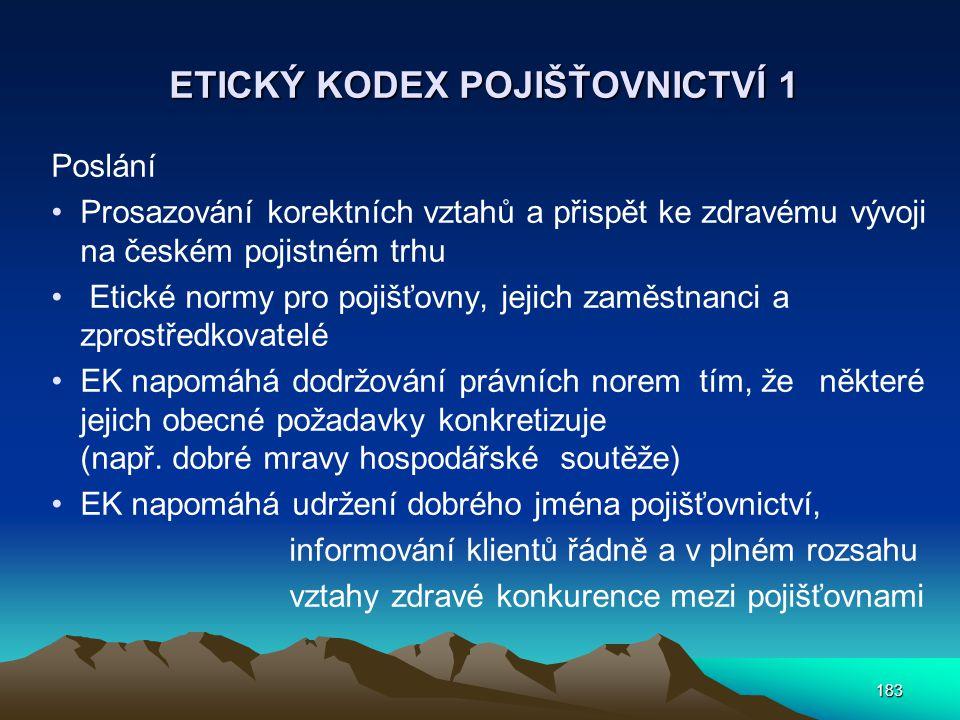183 ETICKÝ KODEX POJIŠŤOVNICTVÍ 1 Poslání Prosazování korektních vztahů a přispět ke zdravému vývoji na českém pojistném trhu Etické normy pro pojišťo