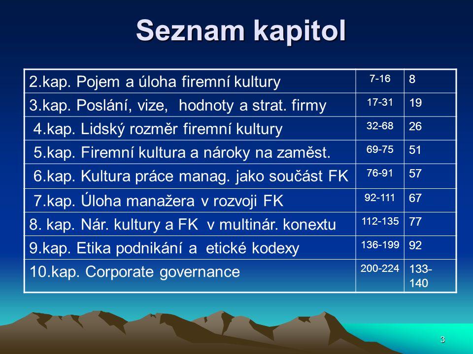 3 Seznam kapitol Seznam kapitol 2.kap.Pojem a úloha firemní kultury 7-16 8 3.kap.