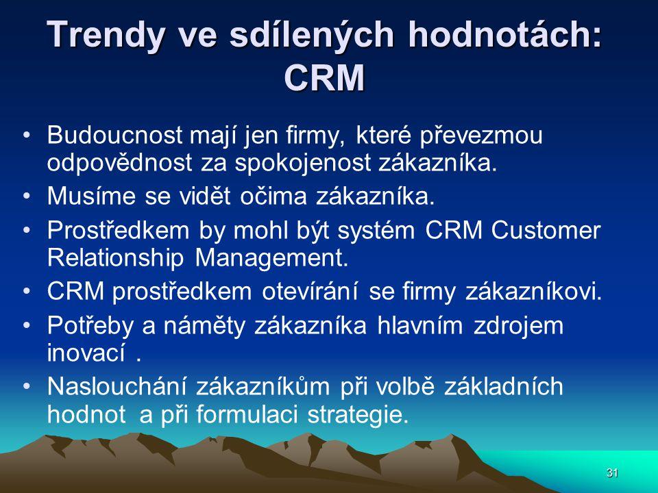 31 Trendy ve sdílených hodnotách: CRM Budoucnost mají jen firmy, které převezmou odpovědnost za spokojenost zákazníka. Musíme se vidět očima zákazníka
