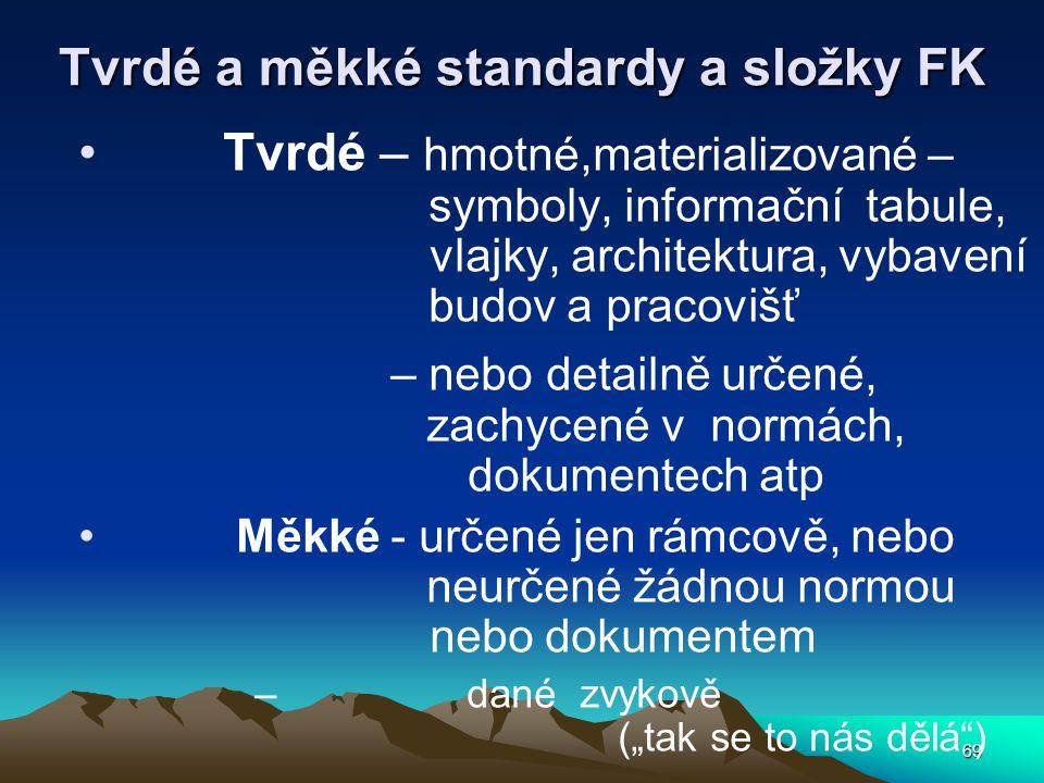 69 Tvrdé a měkké standardy a složky FK Tvrdé – hmotné,materializované – symboly, informační tabule, vlajky, architektura, vybavení budov a pracovišť –