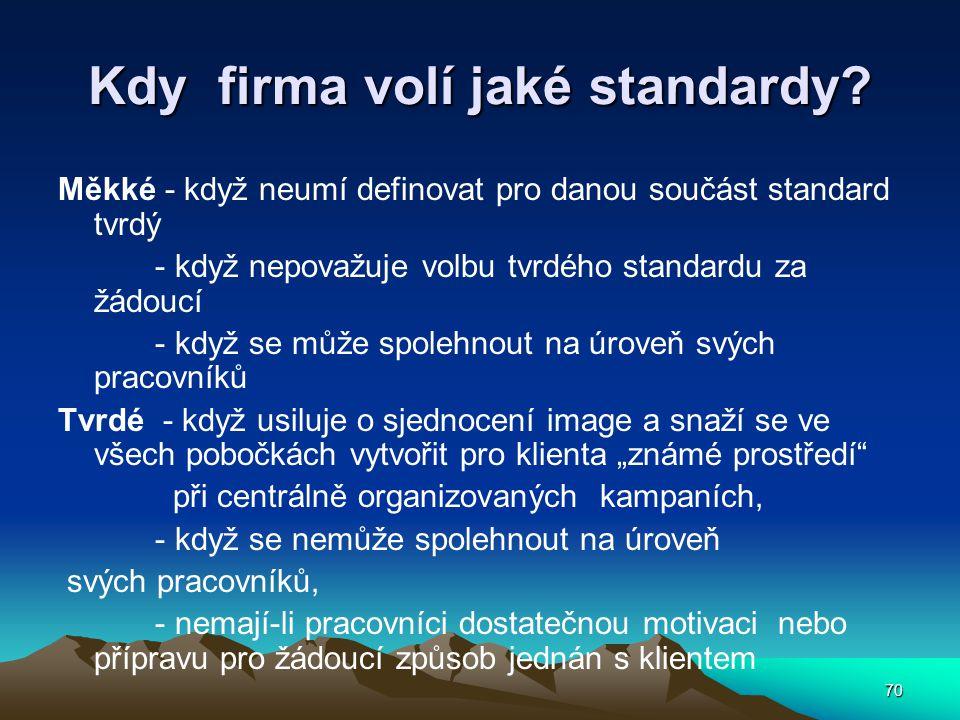 70 Kdy firma volí jaké standardy? Měkké - když neumí definovat pro danou součást standard tvrdý - když nepovažuje volbu tvrdého standardu za žádoucí -