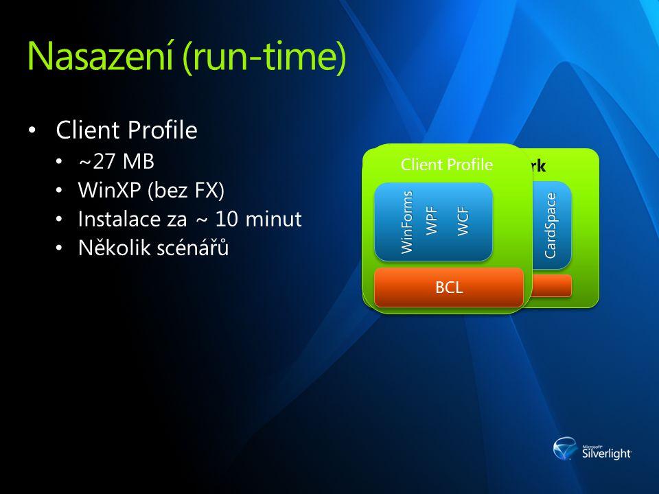Nasazení (run-time) Client Profile ~27 MB WinXP (bez FX) Instalace za ~ 10 minut Několik scénářů BCL Client Profile BCL