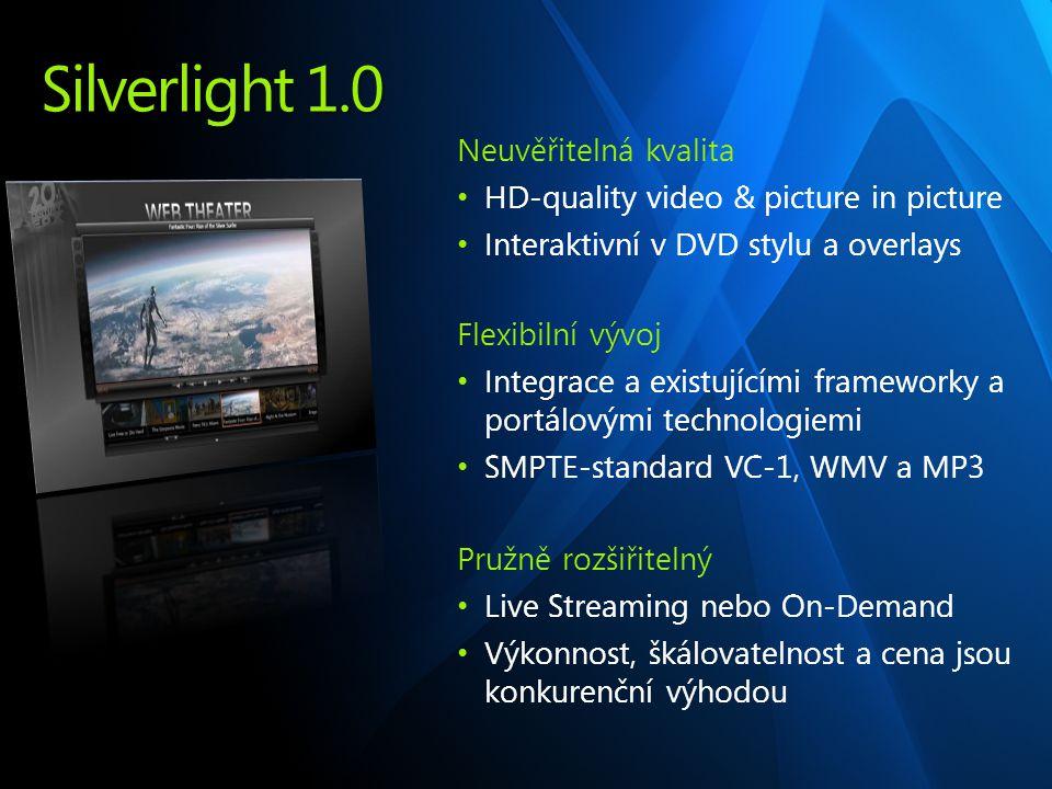 Silverlight 1.0 Neuvěřitelná kvalita HD-quality video & picture in picture Interaktivní v DVD stylu a overlays Flexibilní vývoj Integrace a existujícími frameworky a portálovými technologiemi SMPTE-standard VC-1, WMV a MP3 Pružně rozšiřitelný Live Streaming nebo On-Demand Výkonnost, škálovatelnost a cena jsou konkurenční výhodou