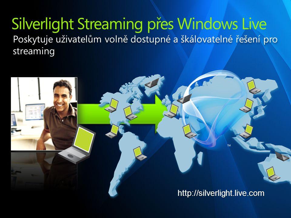 Silverlight Streaming přes Windows Live Poskytuje uživatelům volně dostupné a škálovatelné řešení pro streaming http://silverlight.live.com