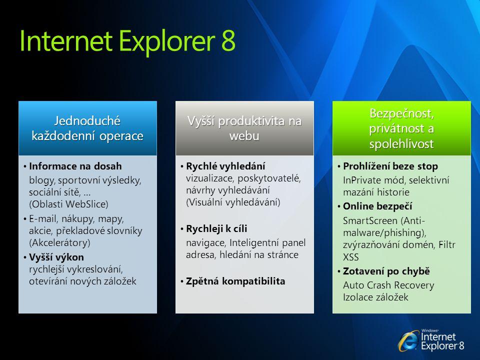 Internet Explorer 8 Jednoduché každodenní operace Informace na dosah blogy, sportovní výsledky, sociální sítě, … (Oblasti WebSlice) E-mail, nákupy, mapy, akcie, překladové slovníky (Akcelerátory) Vyšší výkon rychlejší vykreslování, otevírání nových záložek Vyšší produktivita na webu Rychlé vyhledání vizualizace, poskytovatelé, návrhy vyhledávání (Visuální vyhledávání) Rychleji k cíli navigace, Inteligentní panel adresa, hledání na stránce Zpětná kompatibilita Bezpečnost, privátnost a spolehlivost Prohlížení beze stop InPrivate mód, selektivní mazání historie Online bezpečí SmartScreen (Anti- malware/phishing), zvýrazňování domén, Filtr XSS Zotavení po chybě Auto Crash Recovery Izolace záložek
