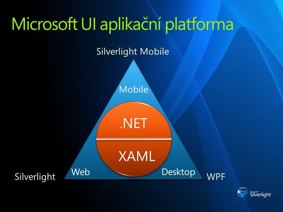 Silverlight - tam, kde je zákazník Cross-platform UX pro web a mobilní zařízení Operační systémy Windows (W2K, XP, Vista) Mac Linux (Moonlight) http://www.mono-project.com/Moonlight Mobilní platforma (v 1.0) Windows Mobile Nokia Symbian (S60 a Series 40)