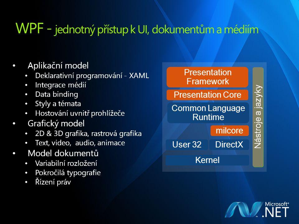 WPF - jednotný přístup k UI, dokumentům a médiím Aplikační model Deklarativní programování - XAML Integrace médií Data binding Styly a témata Hostování uvnitř prohlížeče Grafický model 2D & 3D grafika, rastrová grafika Text, video, audio, animace Model dokumentů Variabilní rozložení Pokročilá typografie Řízení práv Common Language Runtime Presentation Core User 32 Nástroje a jazyky Presentation Framework DirectX Kernel milcore