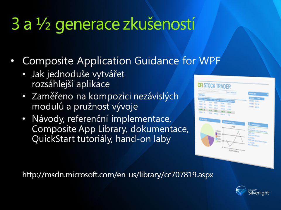 3 a ½ generace zkušeností Composite Application Guidance for WPF Jak jednoduše vytvářet rozsáhlejší aplikace Zaměřeno na kompozici nezávislých modulů a pružnost vývoje Návody, referenční implementace, Composite App Library, dokumentace, QuickStart tutoriály, hand-on laby http://msdn.microsoft.com/en-us/library/cc707819.aspx
