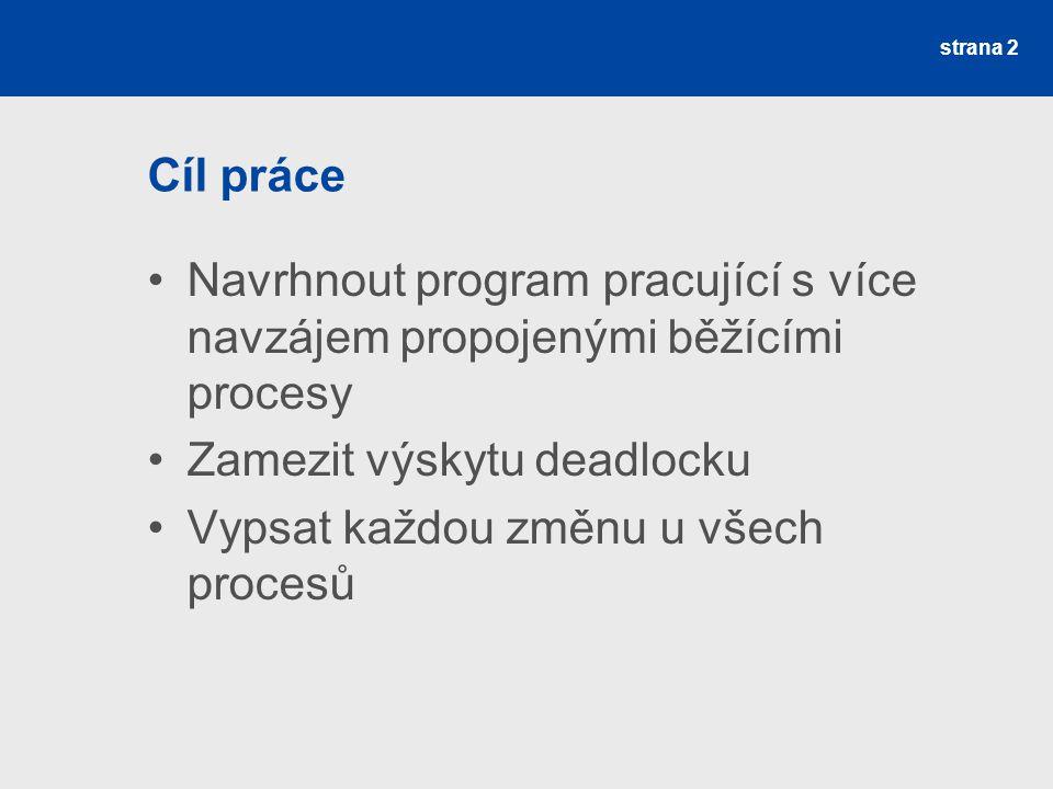 strana 2 Cíl práce Navrhnout program pracující s více navzájem propojenými běžícími procesy Zamezit výskytu deadlocku Vypsat každou změnu u všech procesů