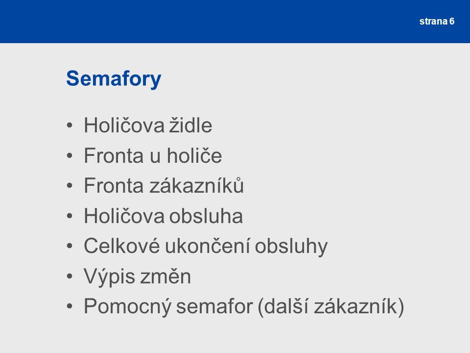 Semafory Holičova židle Fronta u holiče Fronta zákazníků Holičova obsluha Celkové ukončení obsluhy Výpis změn Pomocný semafor (další zákazník) strana 6
