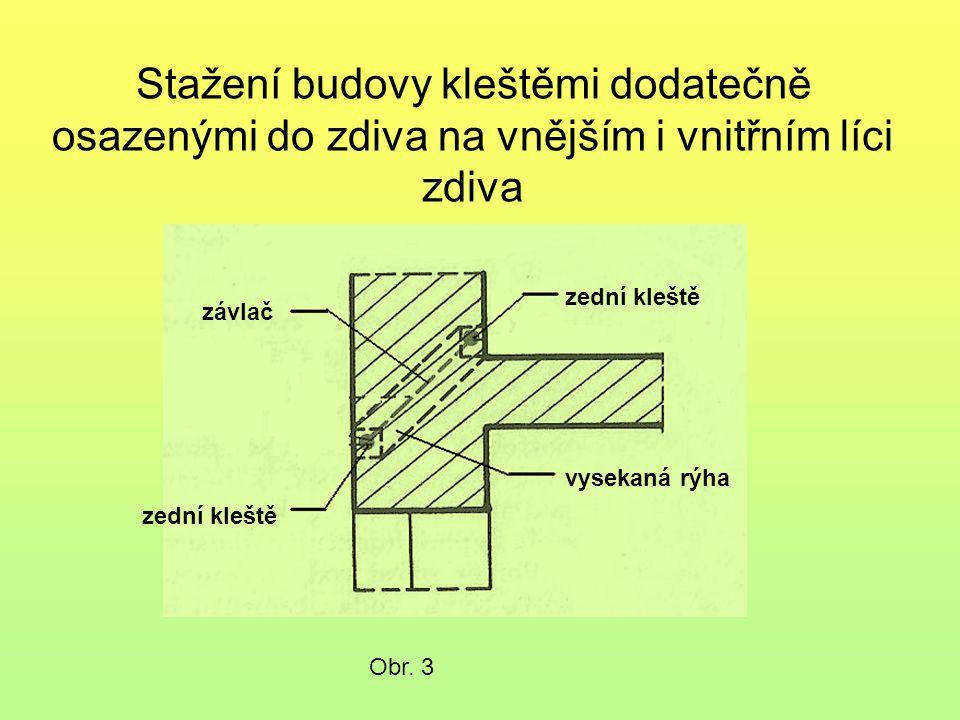 Stažení budovy kleštěmi dodatečně osazenými do zdiva na vnějším i vnitřním líci zdiva Obr.