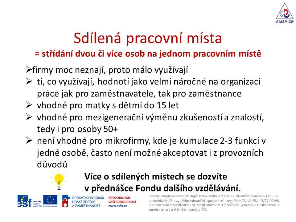 Sdílená pracovní místa = střídání dvou či více osob na jednom pracovním místě Projekt Implementace přístupů k flexicurity v malých a středních podnicích (MSP) v podmínkách ČR s využitím zahraniční spolupráce , reg.