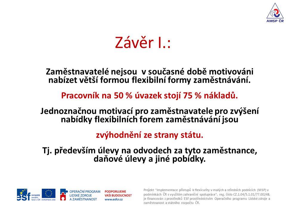 Závěr I.: Projekt Implementace přístupů k flexicurity v malých a středních podnicích (MSP) v podmínkách ČR s využitím zahraniční spolupráce , reg.