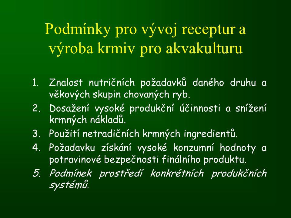 Podmínky pro vývoj receptur a výroba krmiv pro akvakulturu 1.Znalost nutričních požadavků daného druhu a věkových skupin chovaných ryb.