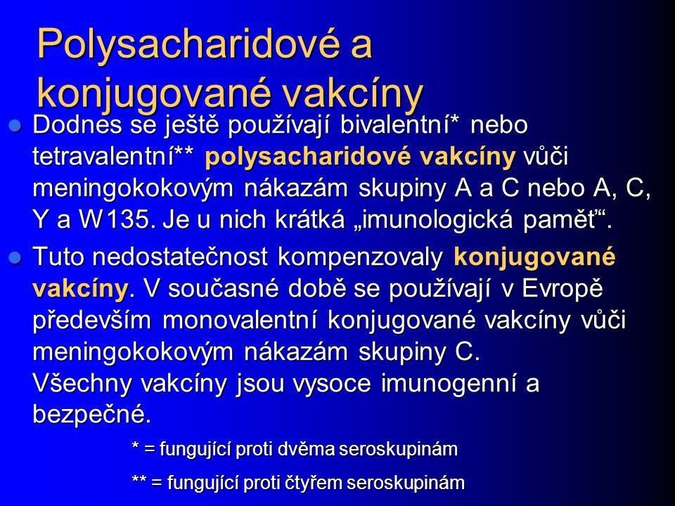 Polysacharidové a konjugované vakcíny Dodnes se ještě používají bivalentní* nebo tetravalentní** polysacharidové vakcíny vůči meningokokovým nákazám s