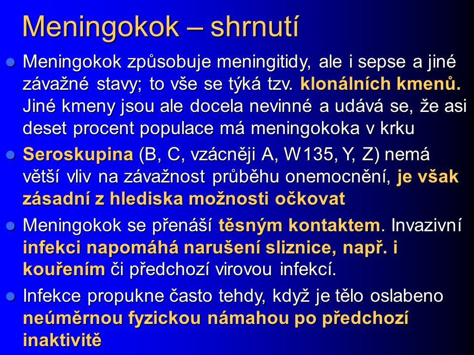 Meningokok – shrnutí Meningokok způsobuje meningitidy, ale i sepse a jiné závažné stavy; to vše se týká tzv. klonálních kmenů. Jiné kmeny jsou ale doc
