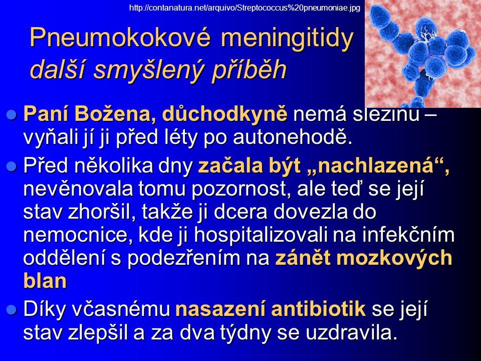 Pneumokokové meningitidy další smyšlený příběh Paní Božena, důchodkyně nemá slezinu – vyňali jí ji před léty po autonehodě. Paní Božena, důchodkyně ne
