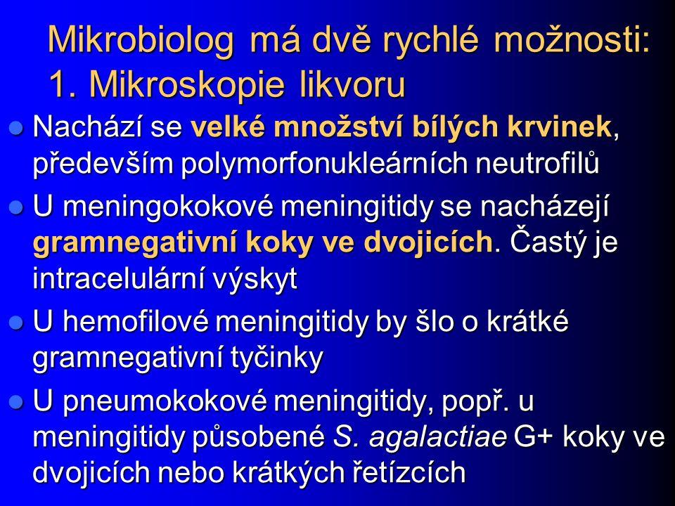 Mikrobiolog má dvě rychlé možnosti: 1. Mikroskopie likvoru Nachází se velké množství bílých krvinek, především polymorfonukleárních neutrofilů Nachází