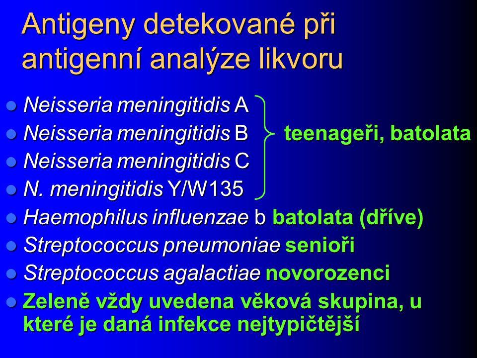 Antigeny detekované při antigenní analýze likvoru Neisseria meningitidis A Neisseria meningitidis A Neisseria meningitidis B teenageři, batolata Neiss