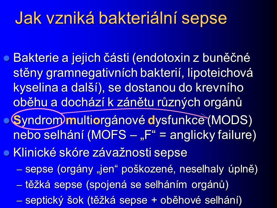 Jak vzniká bakteriální sepse Bakterie a jejich části (endotoxin z buněčné stěny gramnegativních bakterií, lipoteichová kyselina a další), se dostanou