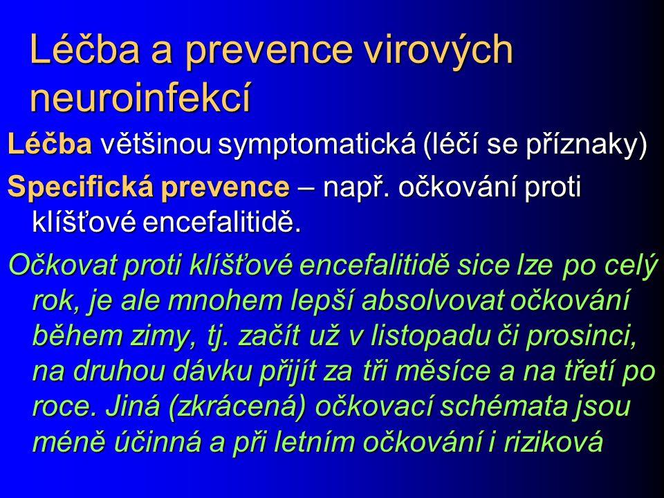 Léčba a prevence virových neuroinfekcí Léčba většinou symptomatická (léčí se příznaky) Specifická prevence – např. očkování proti klíšťové encefalitid