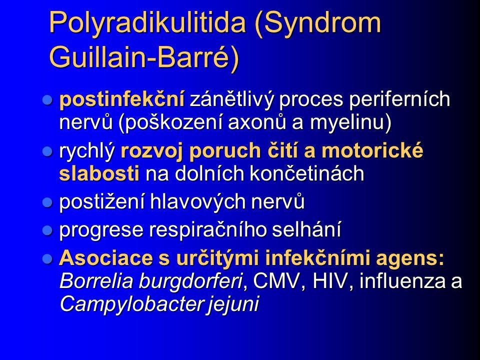 Polyradikulitida (Syndrom Guillain-Barré) postinfekční zánětlivý proces periferních nervů (poškození axonů a myelinu) postinfekční zánětlivý proces pe