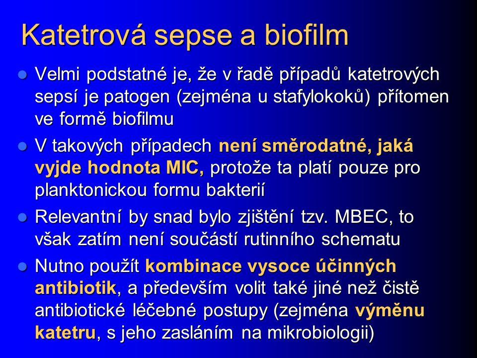 Katetrová sepse a biofilm Velmi podstatné je, že v řadě případů katetrových sepsí je patogen (zejména u stafylokoků) přítomen ve formě biofilmu Velmi
