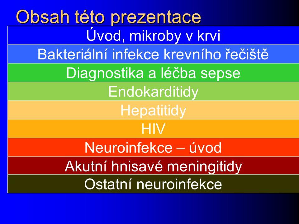 Obsah této prezentace Úvod, mikroby v krvi Bakteriální infekce krevního řečiště Diagnostika a léčba sepse Endokarditidy HIV Hepatitidy Neuroinfekce –