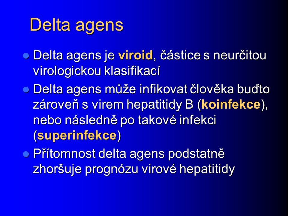 Delta agens Delta agens je viroid, částice s neurčitou virologickou klasifikací Delta agens je viroid, částice s neurčitou virologickou klasifikací De