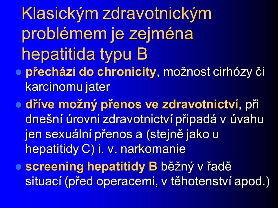 Klasickým zdravotnickým problémem je zejména hepatitida typu B přechází do chronicity, možnost cirhózy či karcinomu jater přechází do chronicity, možn