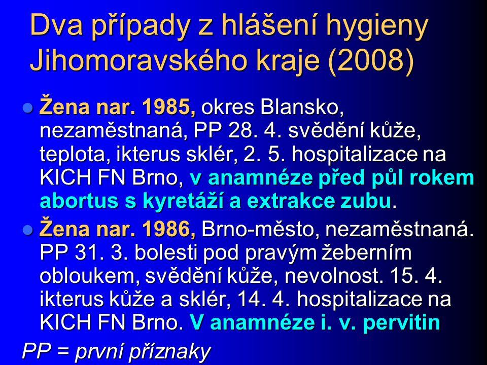 Dva případy z hlášení hygieny Jihomoravského kraje (2008) Žena nar. 1985, okres Blansko, nezaměstnaná, PP 28. 4. svědění kůže, teplota, ikterus sklér,